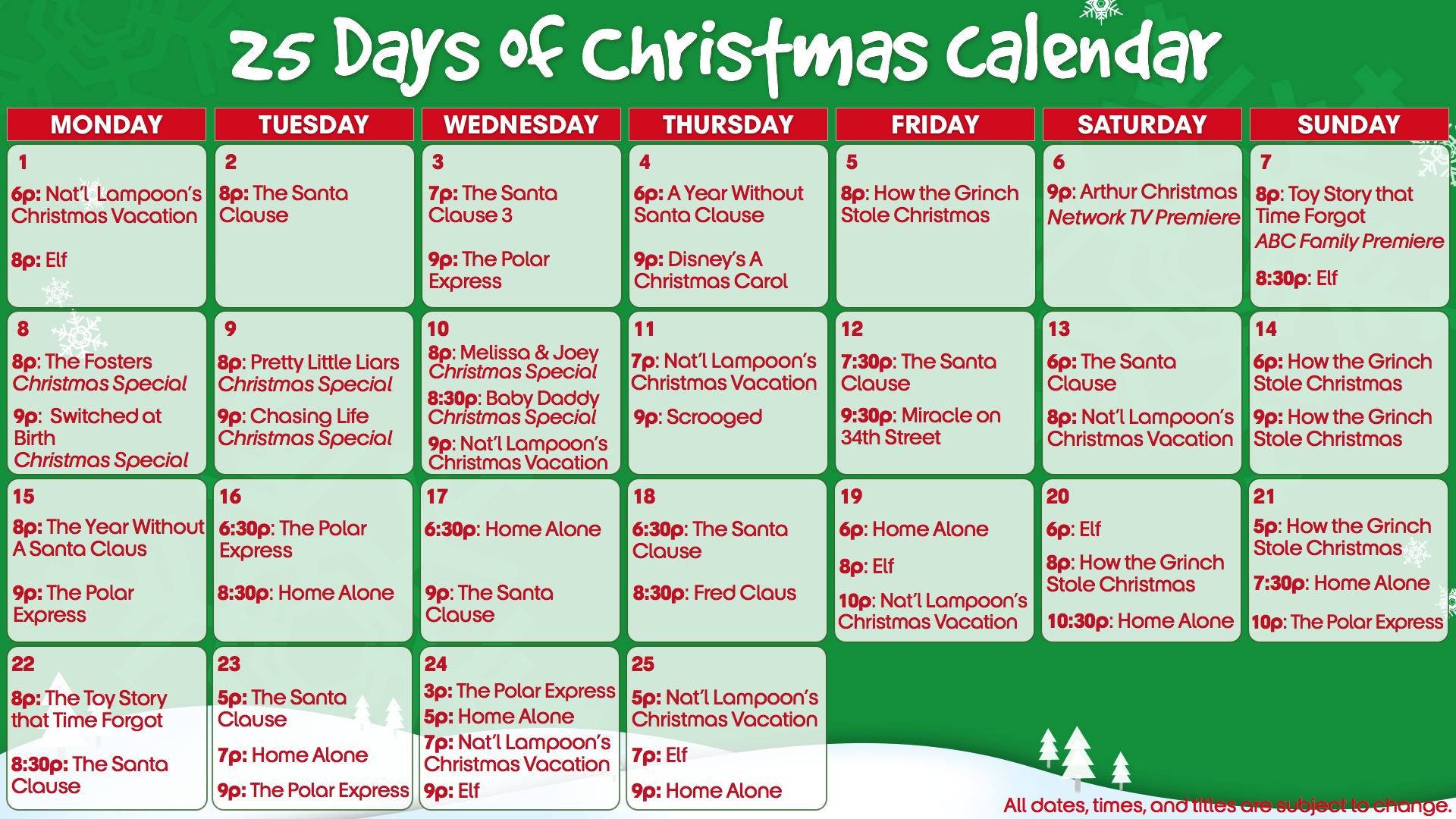 Abc Family Holiday Movie Schedule